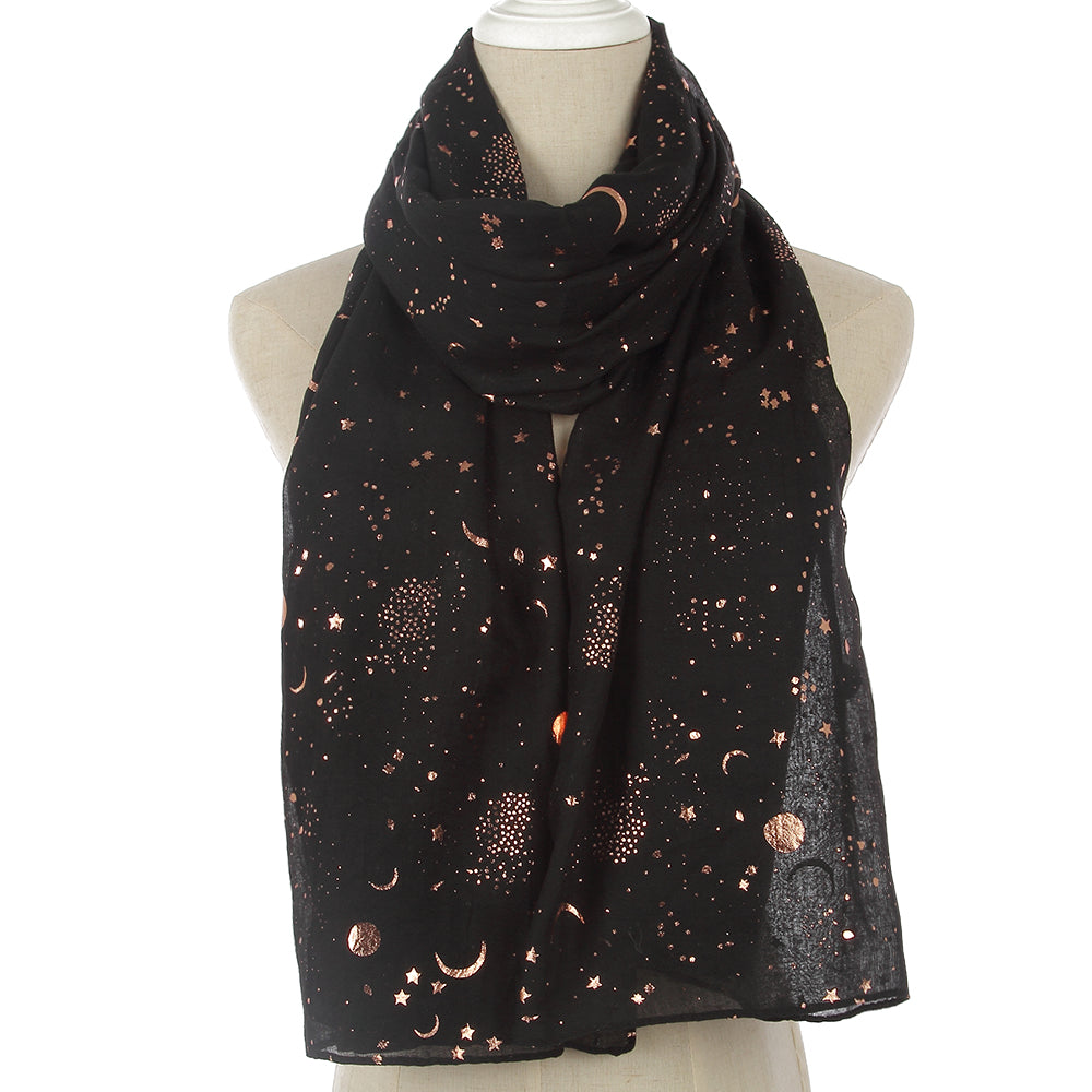 WINFOX New Fashion Women Shiny Black Foil Gold Star Moon Scarves For Womens Ladies-geekbuyig