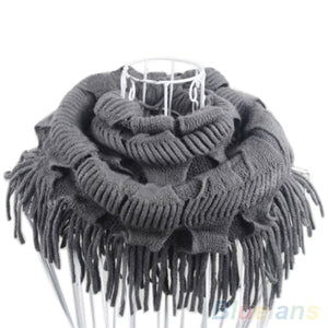 2016 Top Quality Women's Warm Knitting Wool 2 Circle Cable Knit Cowl Neck Tassel Scarf Shawl-geekbuyig