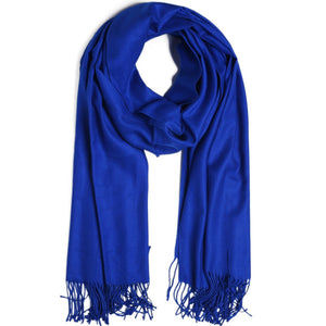 Fashion Cashmere Scarf Shawl Solid Autumn Winter Wrap Warm High Quality Soft Hijab Thick Women Pashmina Wool Luxury Royal Blue-geekbuyig