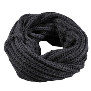 2018 Fashion Winter Ladies Scarf Knitted Circle Wool Scarf Shawl Wrap Winter Warm Collar womens solid color scarves-geekbuyig