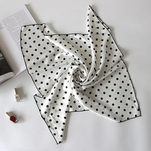 5colors Dot Design Square Scarf for Ladies Classic Hair Handkerchief Women Silk-like Bag Scarves 2018-geekbuyig