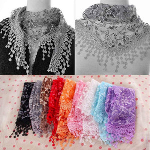Summer Lady Lace Tassel Triangle Scarf Sheer Metallic Women Bandage Floral scarves Shawl female bufanda mujer-geekbuyig