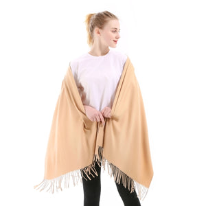 Cashmere Scarf Shawl Solid Plain Autumn Winter Wrap Warm High Quality Soft Hijab Thick Lady Women Pashmina Wool Luxury Yellow-geekbuyig