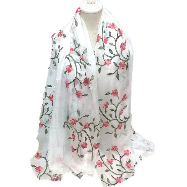 Big Size New Women Silk Scarves Beach Towel Female Bohemia Style Shawls and Scarves Women Embroidery Scarf 17 colors-geekbuyig