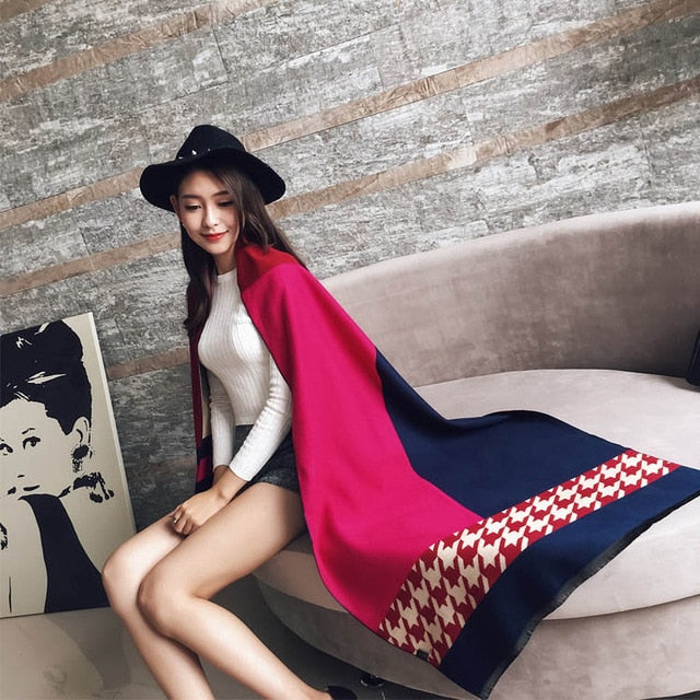Cashmere Scarf Women 190*65cm Lady Winter Warm Cashmere Scarves Long Houndstooth Scarf Female Double-sided Thick Shawl Pashmina-geekbuyig