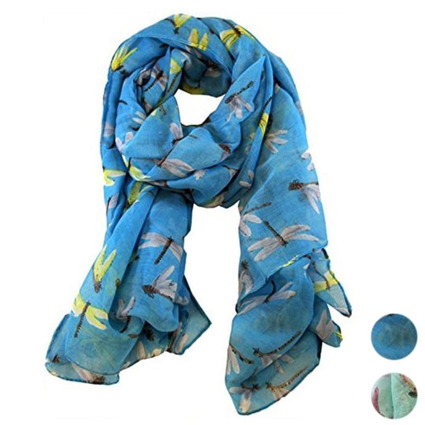 Lady Womens Long Cute Dragonfly Print Scarf Wraps Shawl Soft Scarves Spring Dec 5 6.28-geekbuyig