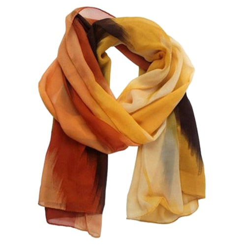 Women Fashion Chiffon Ink Style Oil painting Wrap Lady Shawl Color Scarf Scarves orange-geekbuyig