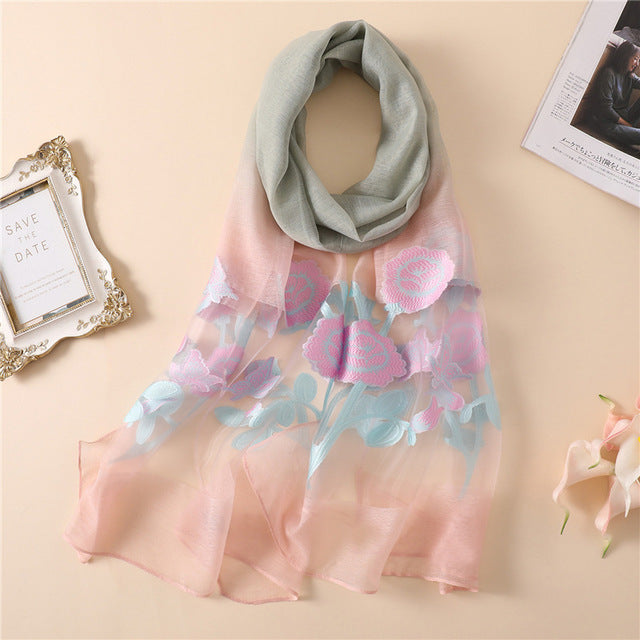 2019 spring summer silk scarves for women fashion flower lady shawls and wraps bandana foulard beach stoles pashmina-geekbuyig