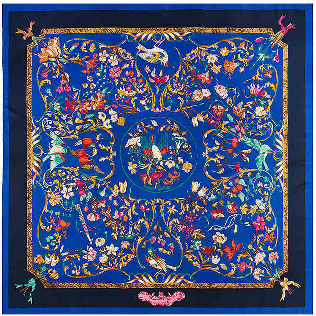 New Twill Silk Women Scarf 130*130 cm Euro Design Letter Leopard Chain Flower Print Square Scarves High Quality Gift Silk Shawl-geekbuyig