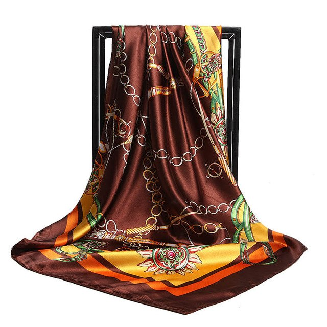 Summer Fashion Satin Scarf Women Floral Print Hijab Foulard Luxury Brand Vintage Head Square Silk Scarves 90*90cm Shawl Wraps-geekbuyig