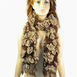 Fashion Necklace Winter Scarf Women Bohemian Bubble Scarf Jacquard Flower Thick Necklace Scarves Winter Warmer Shawl NL-1774-geekbuyig