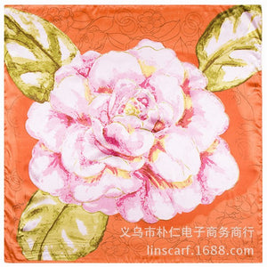 16colors 60cm*60cm Van Gogh Oil Painting Apricot Flower New Women Silk Scarf Twill Print Turban Large Hijab Square headScarf-geekbuyig