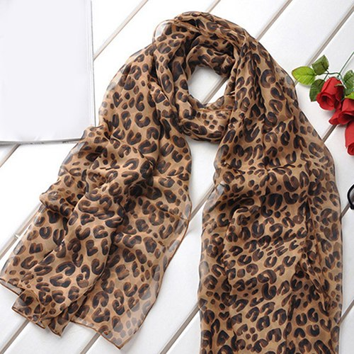 Fashion Women Long Leopard Shawl Neckerchief Chiffon Wrap Stole Scarf Gift-geekbuyig