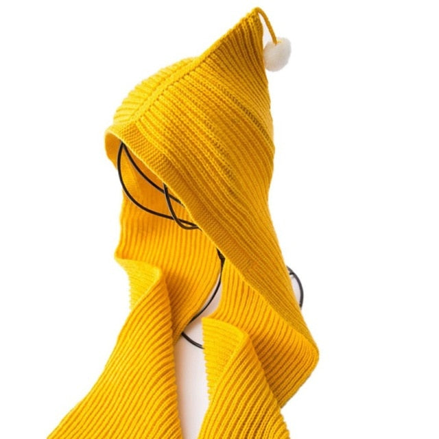 Knitted Hooded Scarf Adult Child Cotton Blend Autumn Winter Cap Neck Ear Warmer Wrap Holiday Gift 1 pcs-geekbuyig