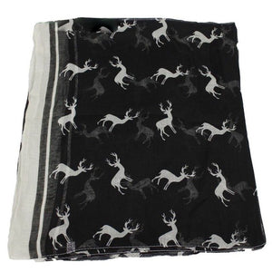 Fashion Women's Animal Deer Print Long Shawl/Infinity Loop Cowl Scarf Lady Shawl Blue-geekbuyig
