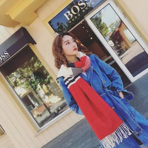 Mingjiebihuo New fashion autumn and winter new stripes spell color scarf double-sided tassel students warm shawl unisex-geekbuyig