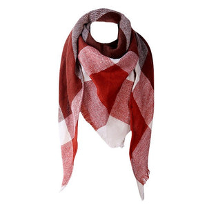 Fashion Plaid Scarves Hijab Women Polyester Shawl Scarf Lady Tartan Autumn Winter Warm Scarf Luxury Long Stoles Bufanda-geekbuyig