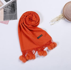 2018 Womens Faux Cashmere Pashmina Casual Long Wool Wraps with Real Rabbit Fur Balls Shawls Winter Solid Scarf LX00967-geekbuyig