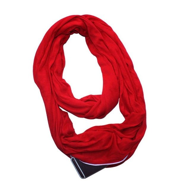 Womens 4 Colors Stretchy Infinity Loop Scarf With Secret Hidden Zipper Pocket Polyester Winter Warm Solid Ring Blanket Wrap Shaw-geekbuyig
