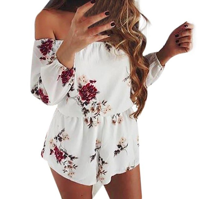Hot Summer Women Backless Playsuits Off Shoulder Sexy Rompers Vintage Overalls Floral Print Jumpsuit Female Bodysuits #AK9840-geekbuyig