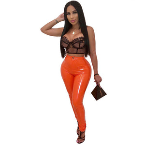 JRRY Sexy Women Faux PU Leather Pants Button Zippers Fake Leather Capris High Elasticity Trousers Faux Leather Long Pants-geekbuyig