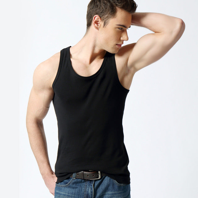 BROWON Men Tank Top Brand High Quality 100% Cotton Undershirt Bodybuilding Singlet Fitness Sleeveless Vest Men Tank Tops-geekbuyig