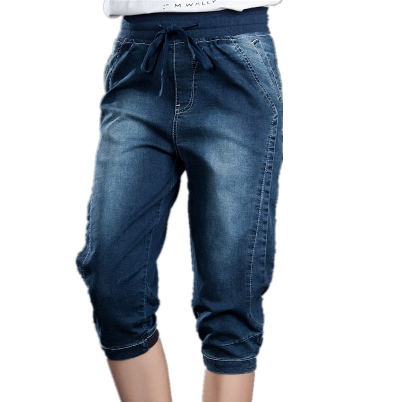 Summer Women Harem Pants Jeans Mom Stretch Plus Size Trousers Lady Casual Elastic Waist Loose 5XL Denim Capri Pants For Female-geekbuyig