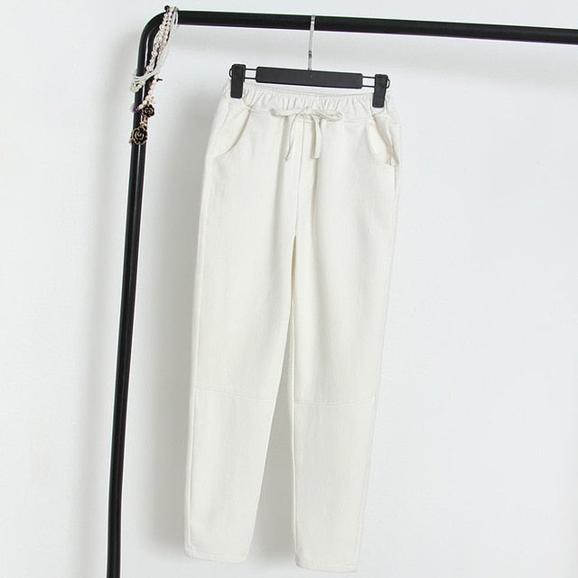 2019 Spring Summer Cotton Linen Harem Pants Women Drawstring High Waist Trousers Women Casual Pants Sweatpants Pantalon C4216-geekbuyig