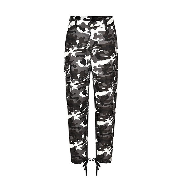 Camo Pants Women High Waist Plus Size Pants Camouflage Bandage Pants Casual Loose Pants Trousers #S12