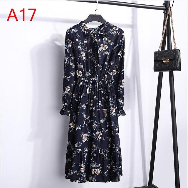 Office Long Sleeve Polka Dot Vintage Dress Women Autumn Dress 2019 Shirt Chiffon Midi Casual Red Floral Winter Dress For Ladies-geekbuyig