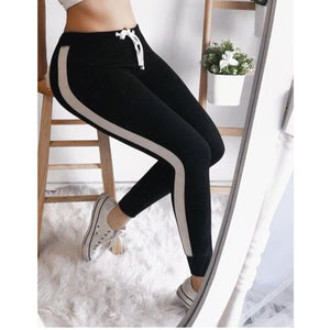 Side Striped High Waist Slim Long Trousers For Women Elastic Fashion Jogger Female Long Pants Autumn Streetwear Woman Trouser-geekbuyig