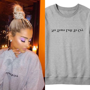 Sugarbaby No Tear Left To Cry Ariana Grande Sweatshirt Long Sleeve Fashion Grey Casual Jumper Girls Fashion Tumblr Spring Tops-geekbuyig