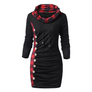 Wipalo Bottons Plaid Trim Drawstring Tunic Sweatshirt Dress Female Casual Sheath Cowl Neck Long Sleeve Dress Winter Fall Vestido-geekbuyig