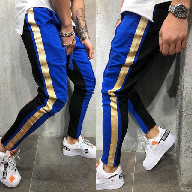 2018 New Brand Cotton Patchwork Men Long Slim Fit T Joggers Sweatpants Slacks-geekbuyig