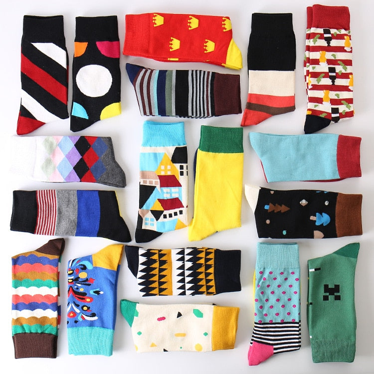 2017 Summer Fashion Mens Cotton Socks Colorful Striped Jacquard Art Socks Hit Color Dot Long Socks Men's Dress Sock-geekbuyig