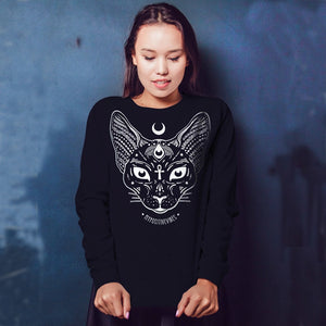 Sphynx Pastel Goth Long Seeves Sweatshirt Women Harajuku Hoodies 2019 Black Moon Child Female Top Round Neck Causal Punk Jumpers-geekbuyig