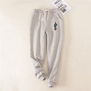 LANSHANQUE Cactus Women Pants Green Gray Loose Thick Fleece Winter Long Trousers Casual Velvet Sweatpants Harem Warm Pants-geekbuyig
