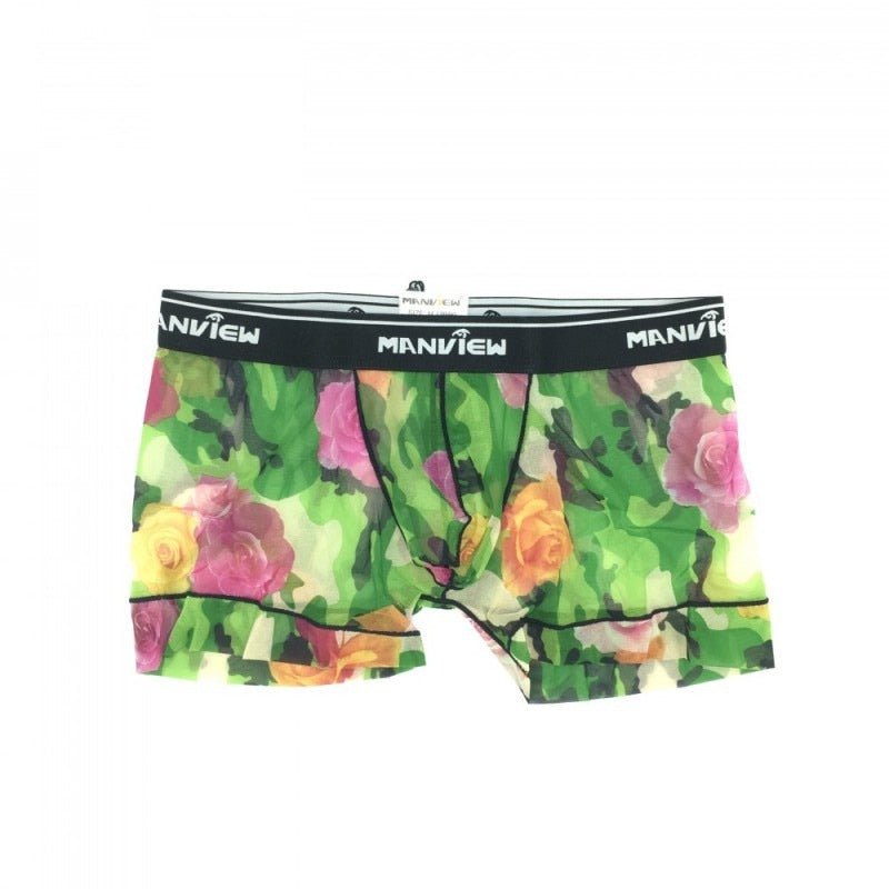 Brand Transparent sexy underwear men shorts gauze boxers gay underwear roses Mesh see through mens boxer shorts-geekbuyig