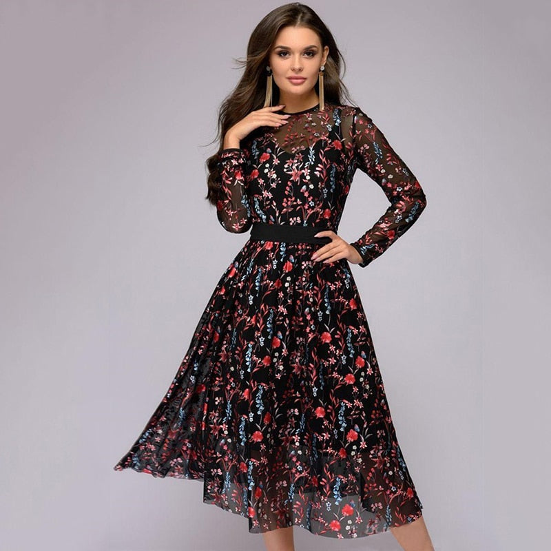 Sexy Women Autumn Floral Embroidery Knee-Length Dress Sheer Mesh Vintage Boho A-line See-through Black 2018 Elegant Vestidos-geekbuyig