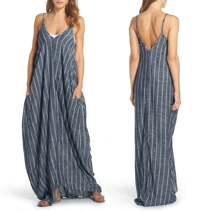 Boho Summer Dress ZANZEA 2018 Women Sexy V Neck Maxi Dresses Sleeveless Striped Beach Sundress Vestidos Robe Femme Plus Size 5XL-geekbuyig