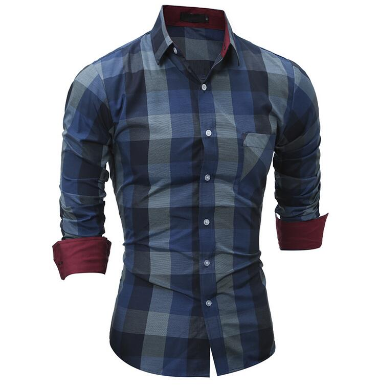 2018 Fashion Brand Shirt For Men Classic Plaid Shirt Casual Men's Shirts Long Sleeve Social Dress blouse-geekbuyig