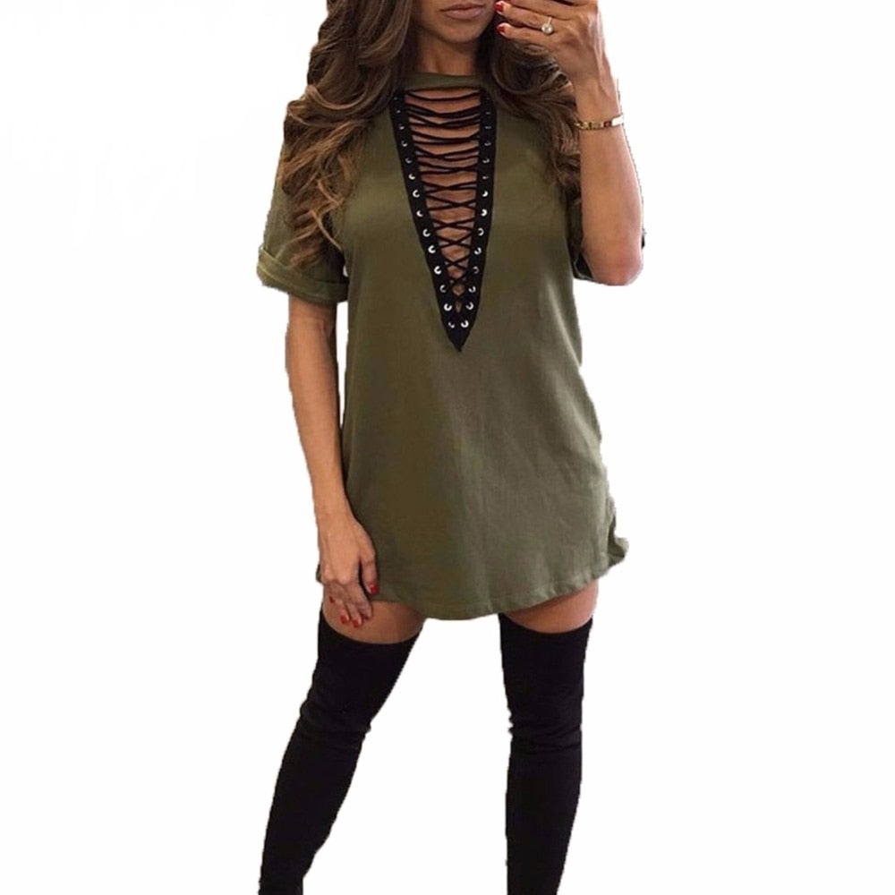 Women Lace Up Dress Plus Size 3XL 4XL 5XL 2019 Spring Dresses Hollow Out Plunge V Short Sleeves Casual Mini Dresses female Robe-geekbuyig