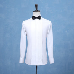 2018 New Fashion Groom Tuxedos Shirts Best Man Groomsmen White Black or Red Men Wedding Shirts Formal Occasion Men Shirts-geekbuyig