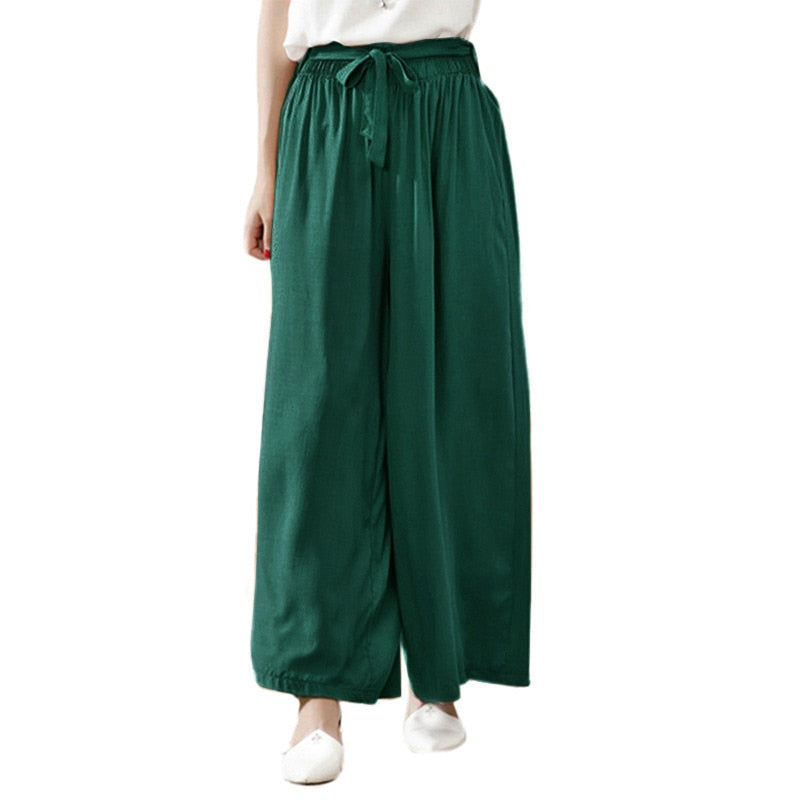 2019 Summer Casual Trousers Plus Size 3XL 4XL 5XL baggy pants Women Wide Leg Pants High Elastic Waist Cotton Long Pants female-geekbuyig