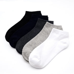 5 Pairs/lot Men Socks Cotton Large size39-48 High Quality Casual Breathable No Show Boat Socks Short Men Fashion Black white new-geekbuyig