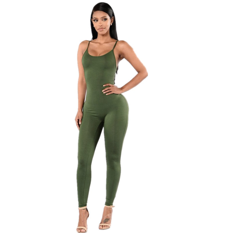 New 2019 Summer Fashion Tight-fitting Cute Multicolor Women Rompers Spaghetti Strap Halter Solid Bodycon Women Jumpsuits-geekbuyig