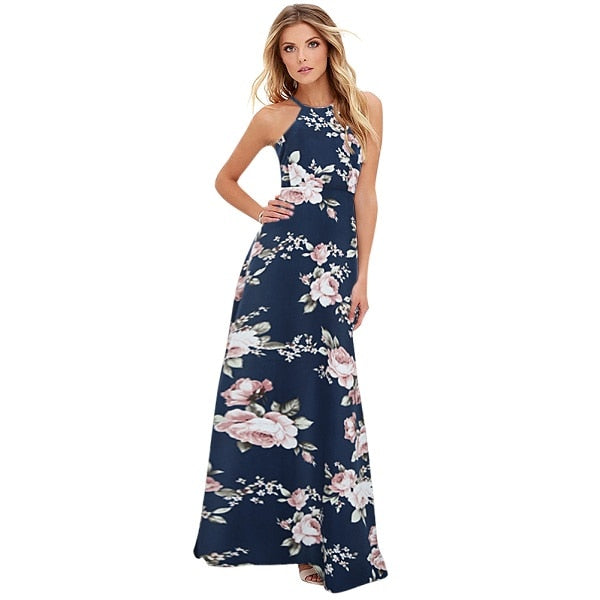 2019 Summer Floral Print Long Dress Plus Size 5XL Women Maxi Dress Halter Neck Sleeveless Beach Holiday Slip Dress female gowns-geekbuyig