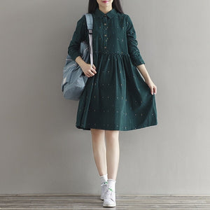 2019 Vintage Women Loose Dress Turn-Down Collar Character Full Sleeve Casual Vestidos Femininos Corduroy Green Retro Lady Dress-geekbuyig