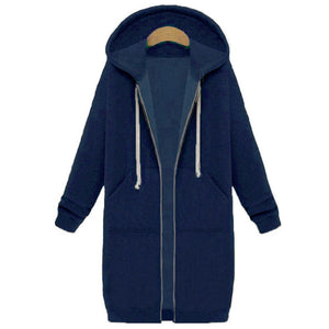 Oversized 2019 Autumn Women Casual Long Hoodies Sweatshirt Coat Pockets Zip Up Outerwear Hooded Jacket Plus Size Tops-geekbuyig