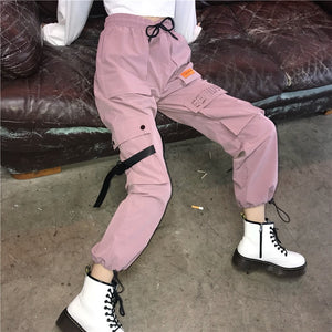 Harajuku Women'S Pants 2018 Autumn Korean Style Hip Hop Panter Multi-Pocket Ladies Elastic Waist Cargo Pants Elegant Female-geekbuyig